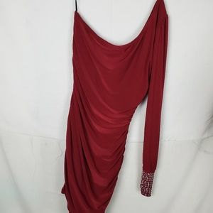 DEB NEW W/T ONE SHOULDER EVENING DRESS  Red M